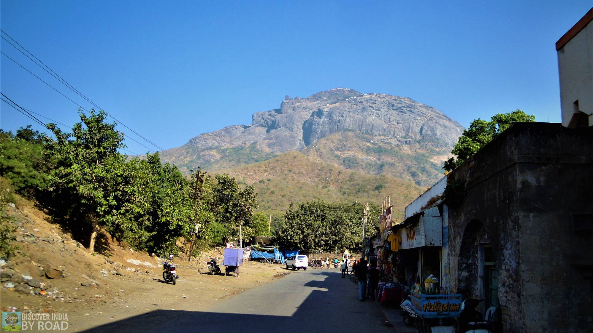 View of Girnar Peak which looks like a face of sleeping sage