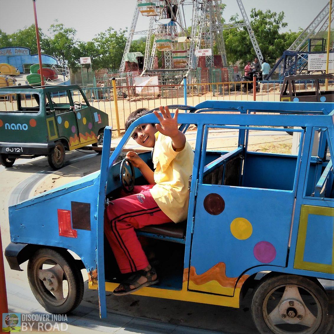 enjoying Car ride at hill garden bhuj