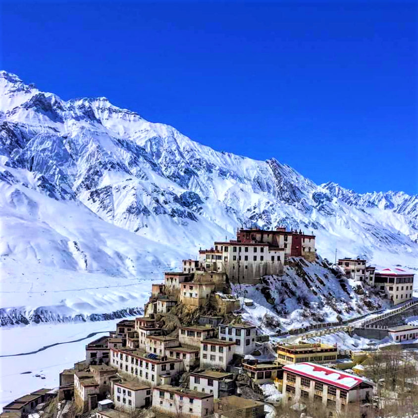 view of monasteries of Leh Ladakh during winter