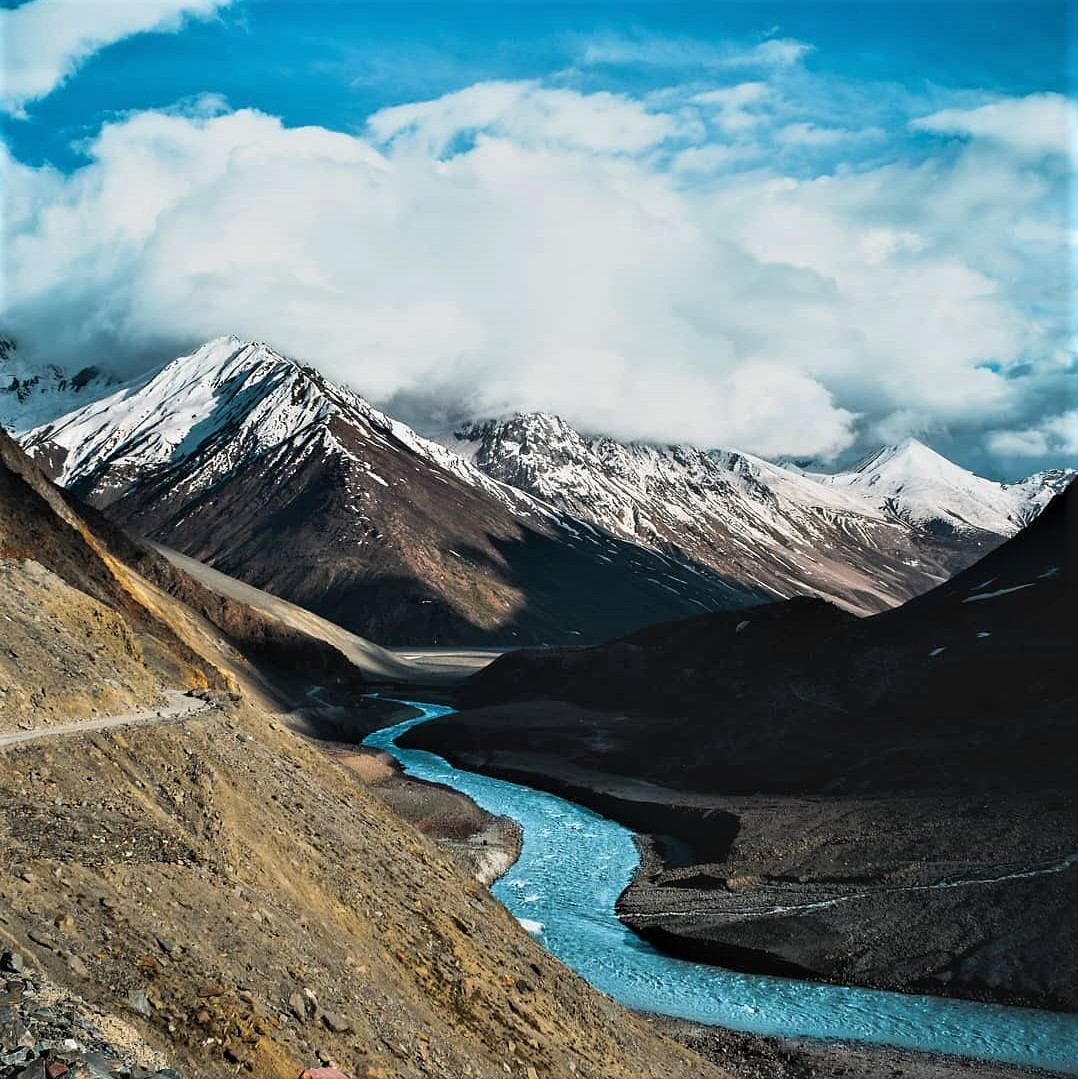 Spiti velly view with snow capped mountains & river