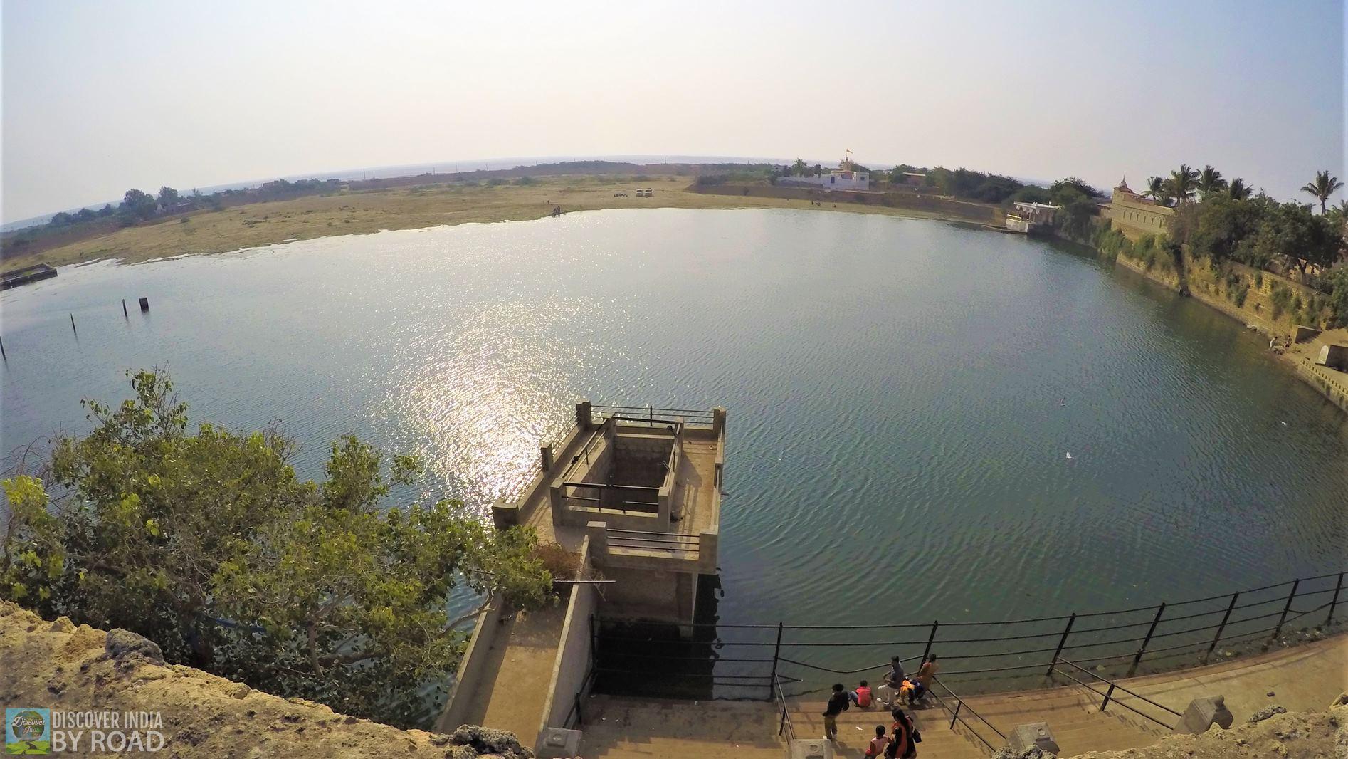 View of Narayan Sarovar from top of wall